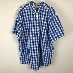 Men's LL Bean Wrinkle Free Blue Checked Shirt